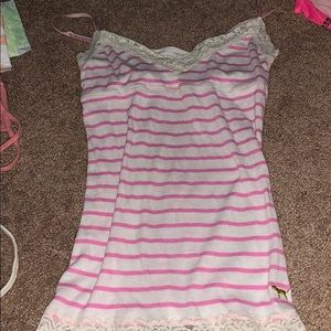Pink! White and pink strip tank top